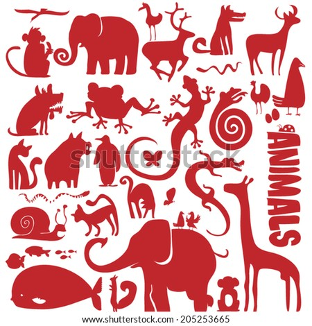 funky animals vector collection - set of different animal silhouettes - stock vector