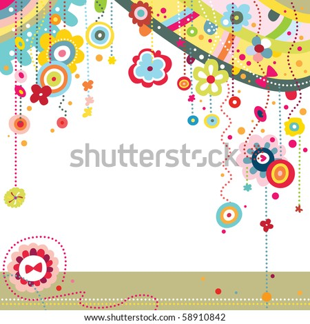 Funky background with colorful shapes and flowers. - stock vector