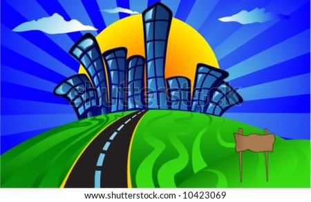 Funky Cartoon City - stock vector