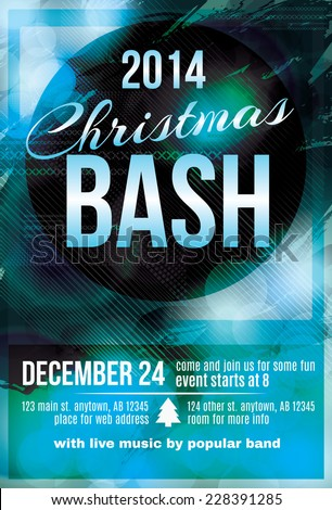 Funky dark blue Christmas bash party invitation flyer - stock vector
