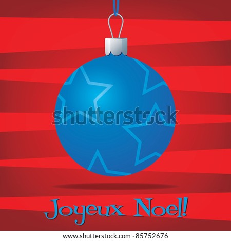Funky French Christmas decoration card in vector format. - stock vector