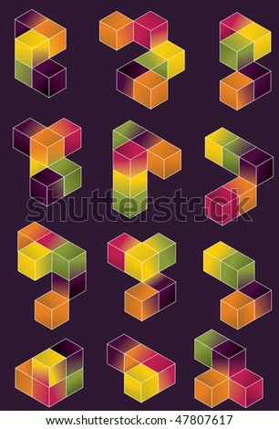 Funky geometric cube collection - stock vector