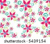 funky groovy daisy flower pattern on white (vector) - stock vector