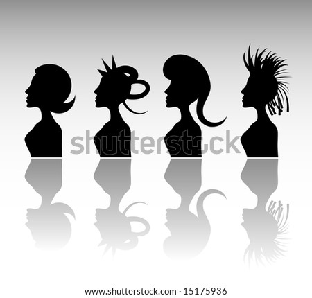 Funky Hairstyle Set 5. - stock vector