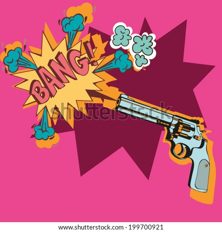 Funky illustration with a gun. - stock vector