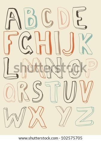funky latin alphabet - stock vector