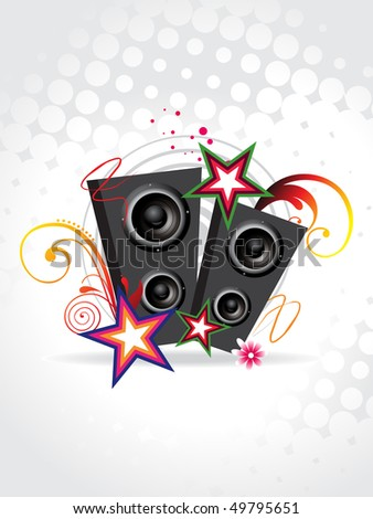 Funky music speakers with beautiful background vector - stock vector