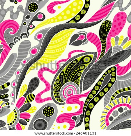 funky psychedelic seamless pattern - stock vector