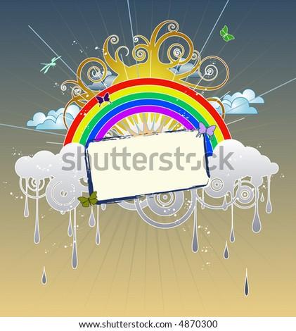 Funky Rainbow Graphic - stock vector