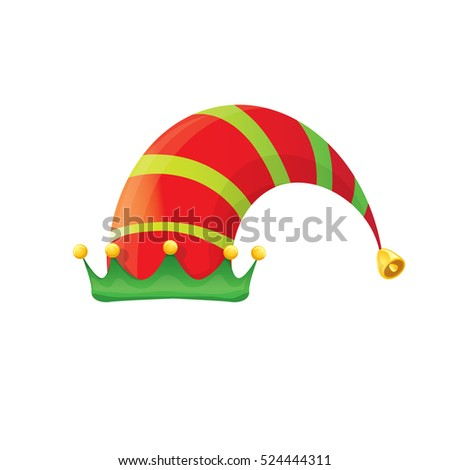 funky red and green stripped cartoon christmas vector elf hat isolated on white. vector kids elf hat icon or label