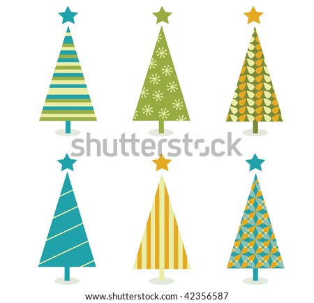 Funky retro christmas tree design. In six shape variants! Vector illustration. - stock vector