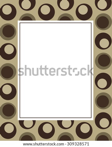 Funky Retro Vector Olive Patterned Frame and Invitation Template - stock vector