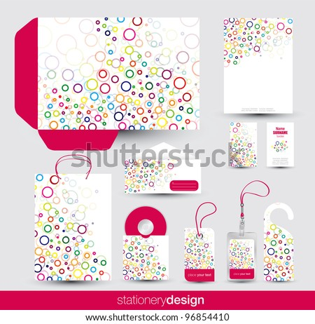Funky stationery set design in editable vector format - stock vector