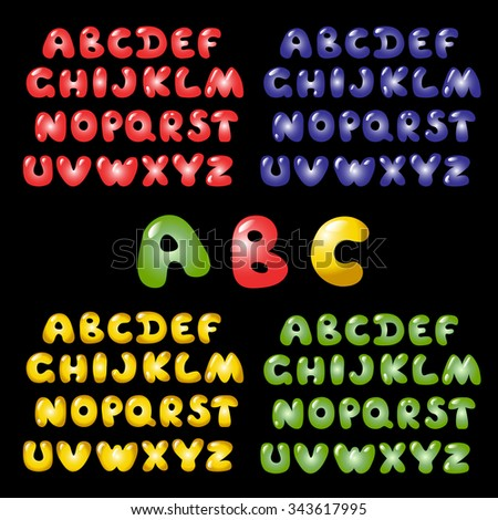 Funky vector ABC, colorful letters for kids design. Shiny glass font collection. Purple, Red, Yellow, Green alphabet. - stock vector