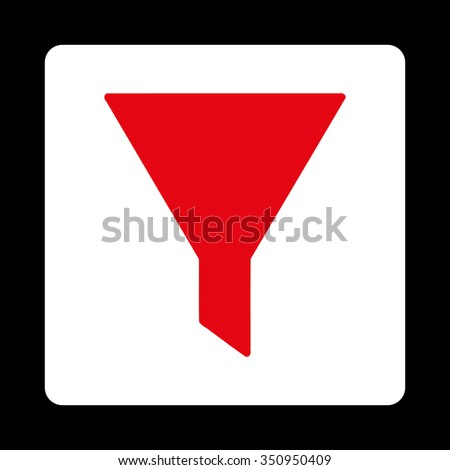 Funnel vector icon. Style is flat rounded square button, red and white colors, black background.