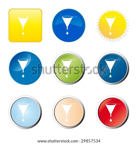 Funnel web button - stock vector