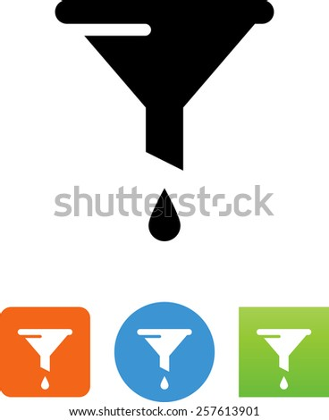 Funnel with droplet. Vector icons for video, mobile apps, Web sites and print projects.  - stock vector