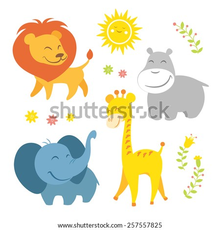 Funny african animals - stock vector