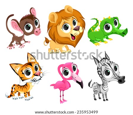 Funny african animals. Vector cartoon isolated characters.  - stock vector