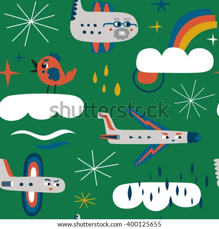 Funny aircrafts are flying in the clouds. Colorful seamless vector pattern - stock vector