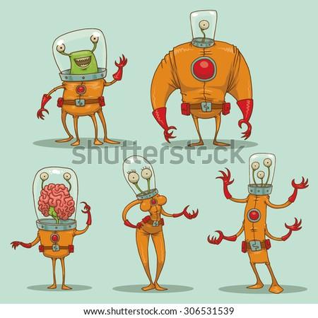 Funny aliens set, - stock vector