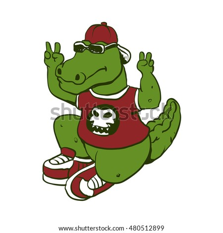 funny alligator with sunglasses and shoes,