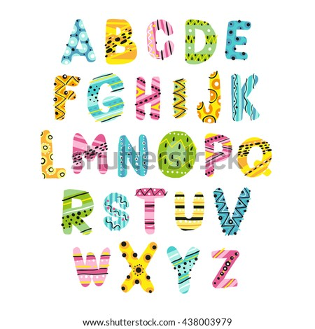 Funny alphabet, colorful letters, vector illustration