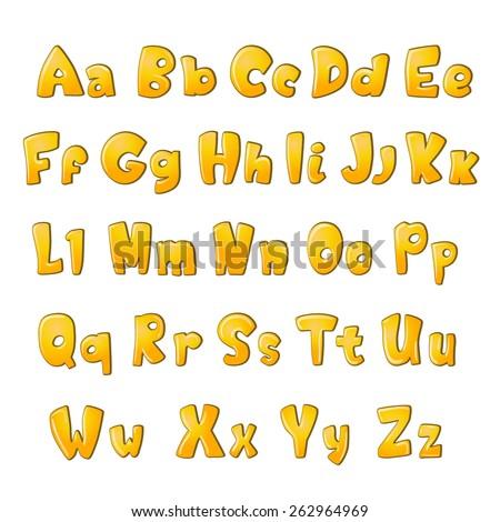 funny alphabet letters on white. vector illustration - stock vector