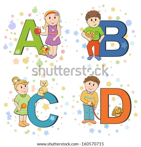 Funny alphabet with cute kids ABCD - stock vector