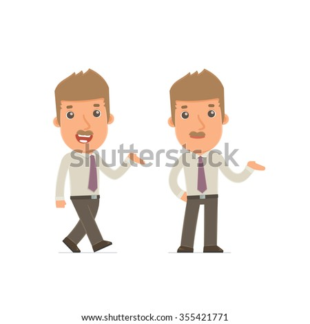 Funny and Cheerful Character Broker making presentation using his hand. for use in presentations, etc. - stock vector