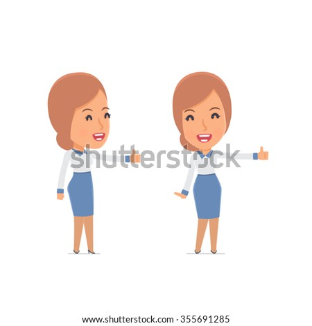 Funny and cheerful Character Consultant Girl showing thumb up as a symbol of approval. for use in presentations, etc. - stock vector