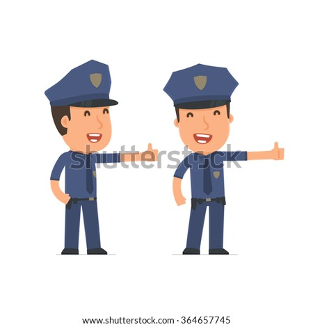 Funny and cheerful Character Officer showing thumb up as a symbol of approval. for use in presentations, etc.