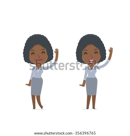 Funny and Cheerful Character Social Worker welcomes viewers. for use in presentations, etc. - stock vector