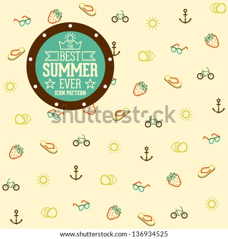 Funny and Cool Summer Icon Pattern Background - stock vector
