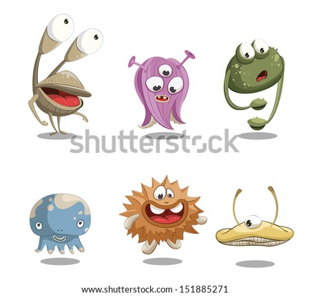 Funny and cute cartoon monsters. Character - stock vector
