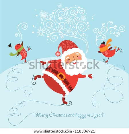 Funny and cute Christmas card - stock vector
