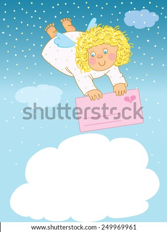 Funny angel flies with love card - stock vector