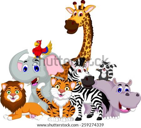 funny animal cartoon collection  - stock vector