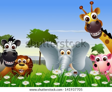 funny animal cartoon with nature background - stock vector