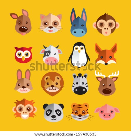 Funny Animal Heads Vector illustration - stock vector