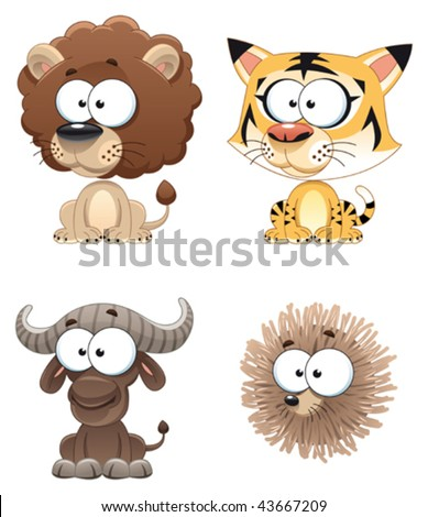 Funny Animal of Africa. Cartoon and vector characters. - stock vector