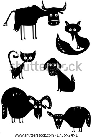 Funny animal silhouettes - stock vector