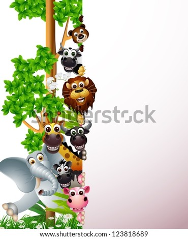 funny animal with blank sign - stock vector