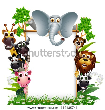 funny animal with blank sign and tropical forest background - stock vector