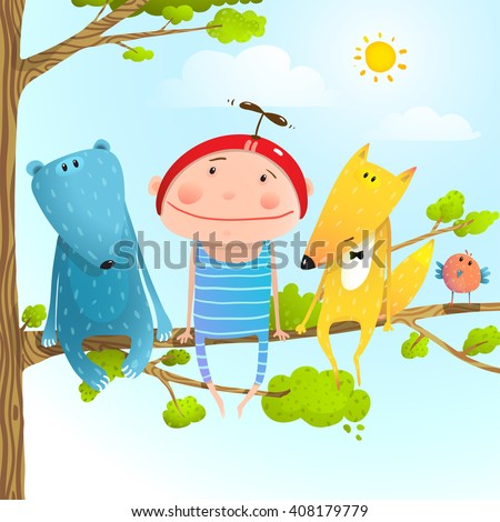 Funny animals and boy friends sitting on the tree, Baby kid and fox, bear funny friendship colorful cartoon, vector illustration - stock vector