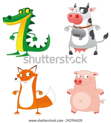 Funny Animals. Cartoon and vector characters. - stock vector