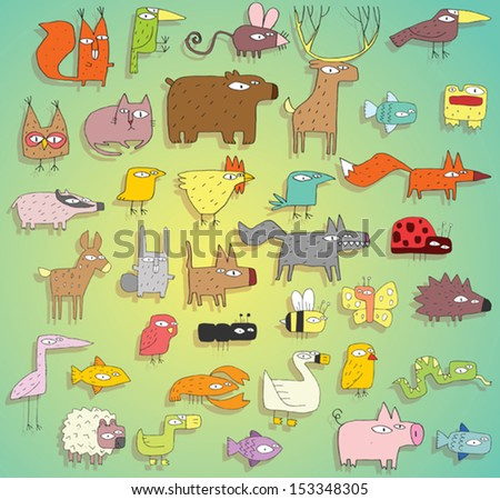 Funny Animals Collection in colours, with outlines and shadows, on gradient background. Elements are isolated in a group, shadows on separate layer, illustration in eps10 vector mode. - stock vector