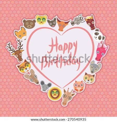 Funny Animals Happy birthday. White heart on pink Polka dot background. Vector - stock vector
