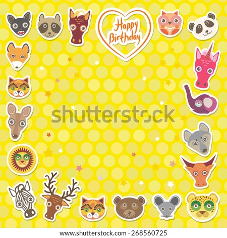 Funny Animals Happy birthday. Yellow Polka dot background. Vector - stock vector