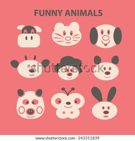 funny animals icons, signs, symbols, illustrations set on background, vector